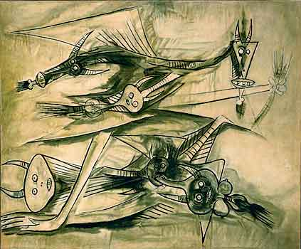 Femme assise [Seated Woman] by Wilfredo        Lam